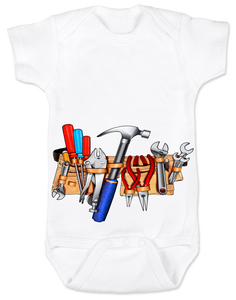 Tool Belt baby Bodysuit white