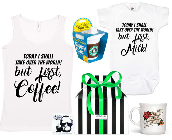 Coffee Lover gift set, milk lover gift set, but first, coffee mom, best baby shower gift, rock and roll baby gift, cool baby shower gift set, starbucks sippy cup, badass gift basket, mommy and me gift set, mom and baby matching set, tough mother coffee cup, funny mom coffee mug, funny onesie and cup set, coffee/milk lover baby gift box