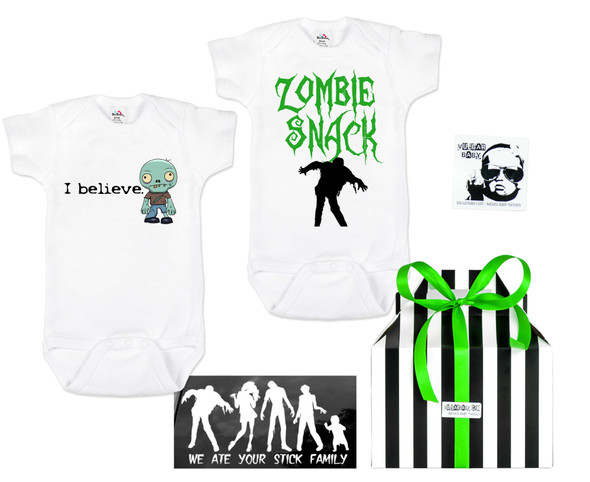 Zombie Survivor gift set, baby gift for zombie parents, funny baby shower gift for zombie lovers, Zombie snack baby bodysuit, halloween baby set, Zombie baby shower gift, little zombie hunter, Zombie apocalypse family, Zombie baby gift set, I Believe in Zombies, Zombie Family Car Stickers, Zombie Family