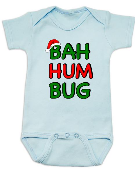 funny christmas baby clothes, christmas carol baby Bodysuit, humbug, blue