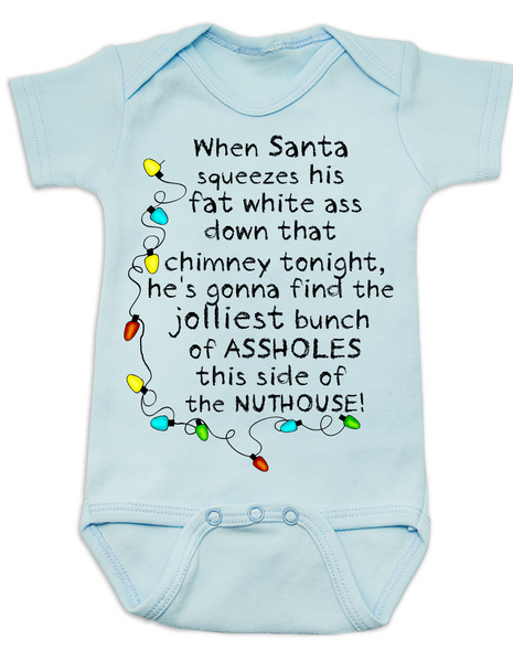 Christmas Vacation baby Bodysuit, jolliest bunch of assholes Bodysuit, classic Christmas Movie Bodysuit, funny christmas baby clothes, funny holiday baby Bodysuit, Griswold christmas, National Lampoon Christmas movie baby gift, Lampoons Christmas quote, Funny christmas baby, Christmas Vacation quote, This side of the nuthouse, crazy family christmas, blue