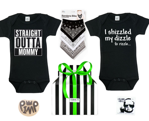 Hip Hop Baby Gift Set, gangster baby shower gift box, rap music lover baby gift, bandana bibs, straight outta mommy onesie, shizzled my dizzle onesie, hip hop baby onesies, little gangsta baby, with pimp pacifier