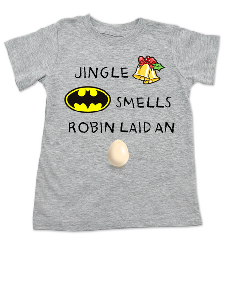 Jingle bells, batman smells, funny christmas toddler clothes, robin laid an egg, funny jingle bells kid shirt, silly christmas toddler shirt, grey