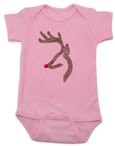 Rudolph red-nosed reindeer camoflage baby onese