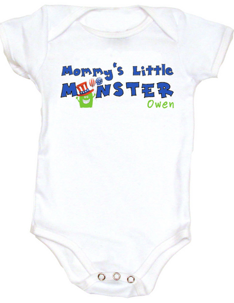 Mommy's Little Monster Personalized 4th of July Baby Bodysuit