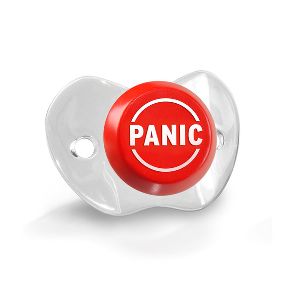 Funny baby Pacifier, Panic Button pacifier, panic baby binky, baby shower gag gift, funny infant pacifier, funny baby binky, funny binkie, chill baby, fred panic pacifier, novelty baby pacifier, baby wearing funny pacifier, new parents panic button, funny new parent gift, baby panic pacifier