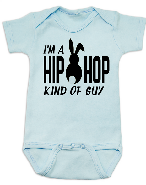 Hip Hop kind of guy baby Bodysuit, hip hop kind of girl baby Bodysuit, Cool Easter baby bodysuit, funny easter onsie, hip hop music baby Bodysuit, Easter baby gift for hip parents, I'm a hip hop kind of guy, blue