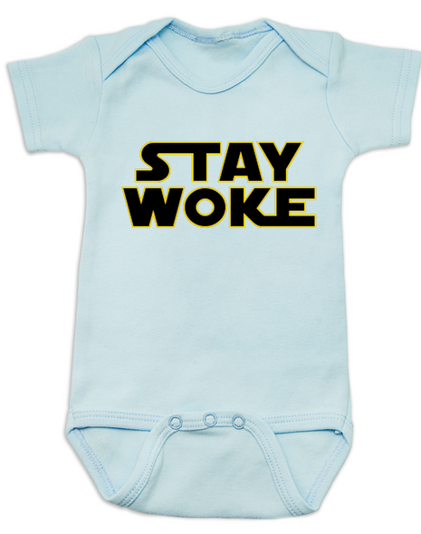 Stay Woke Star Wars Logo baby Bodysuit, Blue