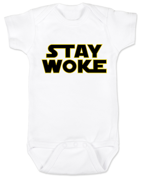 Stay Woke Star Wars Logo baby Bodysuit, White