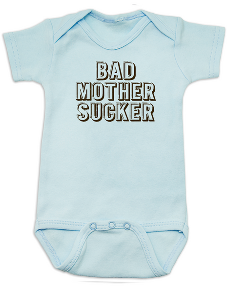 Bad Mother Sucker Baby Bodysuit, Pulp Fiction, Bad Mother Fucker Wallet, Samuel Jackson movie, Funny breastfeeding onsie, blue