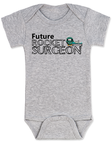 Future Rocket Surgeon baby Bodysuit, future personalized baby Bodysuit, rocket surgeon, custom funny baby gift, it's not rocket surgery baby, grey