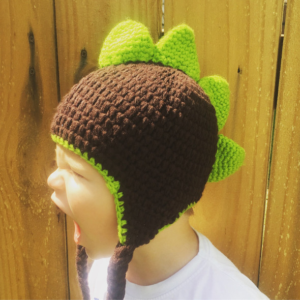 Crochet Dinosaur baby hat, green and brown knit hat, toddler dinosaur hat