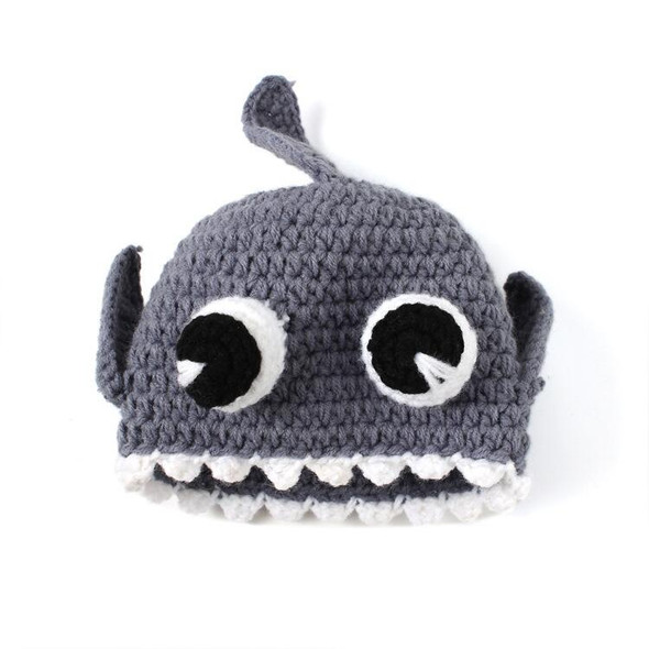 Crochet shark baby hat, grey and white front view