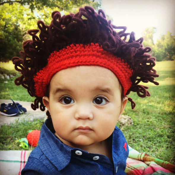 Crazy hair crochet hat, funny crochet toddler hat, crazy hair baby hat, crochet afro baby hat, crazy hair knit toddler hat, funny baby hat, silly 80s baby hat, novelty crochet baby hat