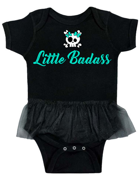 Little Badass Tutu baby Bodysuit, Cool baby Bodysuit with tutu, Little Badass baby girl, skull and crossbones baby girl, punk rock princess, baby clothes for cool little girls, rock and roll baby girl bodysuit, rocker girl infant bodysuit, little badass tutu onsie, black & turquoise baby Bodysuit