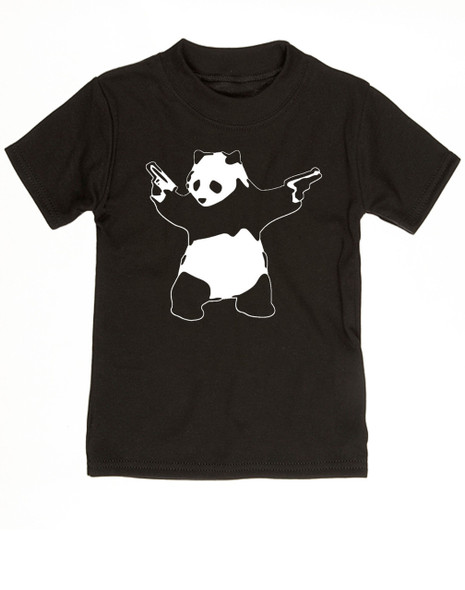Banksy panda with guns baby toddler shirt, Banksy kids clothing, black