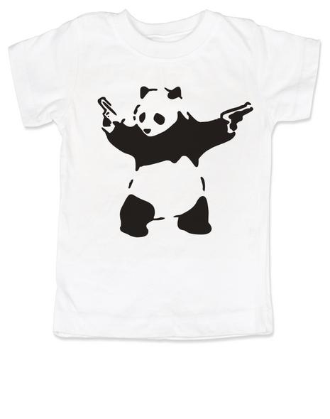 Banksy panda with guns baby toddler shirt, Banksy kids clothing, white
