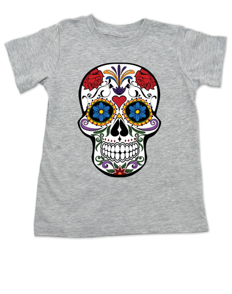 Dia de los Muertos toddler shirt, colorful sugar skull t-shirt, Day of the dead toddler shirt, Halloween kid shirt, grey