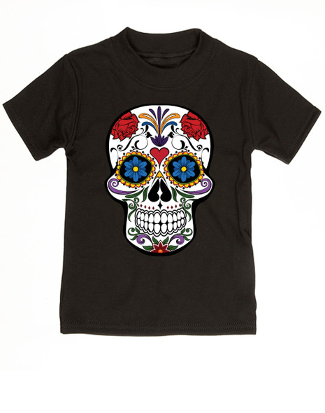 Dia de los Muertos toddler shirt, colorful sugar skull t-shirt, Day of the dead toddler shirt, Halloween kid shirt, black