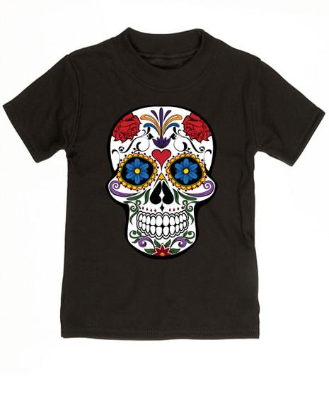 Dia de los Muertos toddler shirt, colorful sugar skull t-shirt, Day of the dead toddler shirt, Halloween kid shirt, black