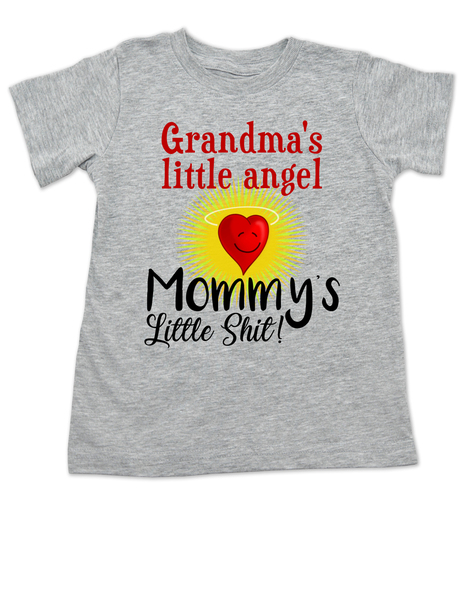 Mommy's little shit, grandma's little angel toddler shirt, Little shit toddler tshirt, funny grandparent toddler shirt, funny personalized grand baby gift, mimi's little angel, paw paws little angel, daddy's little shit, grey