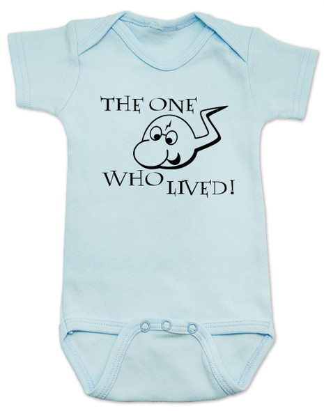 the boy who lived baby Bodysuit, funny harry potter baby Bodysuit, baby gift for harry potter fans, the sperm who lived baby onsie, funny sperm baby Bodysuit, Harry Potter infant bodysuit, snuggle this muggle, Hogwarts baby gift, blue