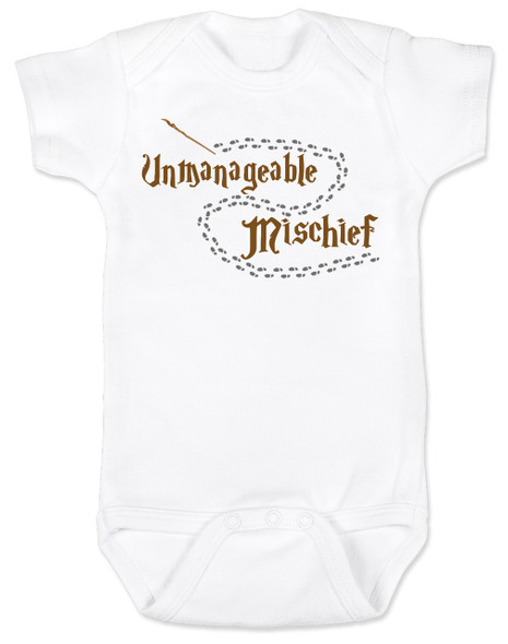 Unmanageable Mischief baby Bodysuit, funny harry potter baby Bodysuit, baby gift for harry potter fans, Mischief Managed baby onsie, Marauders Map baby Bodysuit, Harry Potter infant bodysuit, snuggle this muggle, Hogwarts baby gift, white