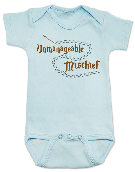 Unmanageable Mischief baby Bodysuit, funny harry potter baby Bodysuit, baby gift for harry potter fans, Mischief Managed baby onsie, Marauders Map baby Bodysuit, Harry Potter infant bodysuit, snuggle this muggle, Hogwarts baby gift, blue