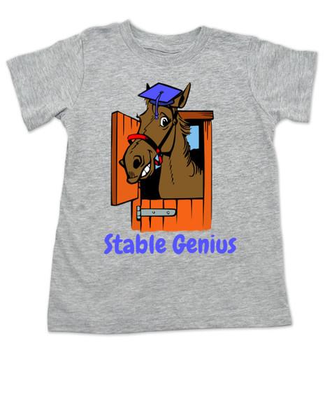 Stable Genius horse toddler shirt, grey