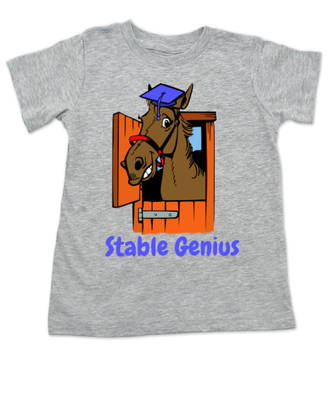 Stable Genius horse toddler shirt, grey