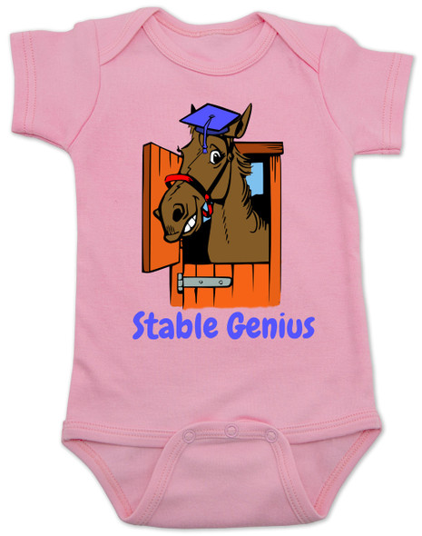 Stable Genius baby Bodysuit, pink