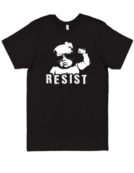 Resist adult shirt, vulgar baby adult shirt, protest baby, Resist shirt, funny political clothes for new parents, baby protester, black shirt