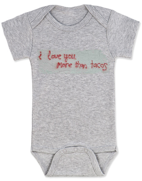 I love you more than tacos graffiti wall baby Bodysuit, grey