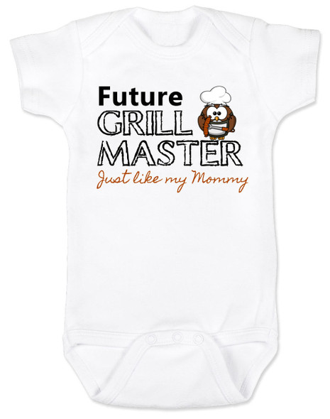 Future Grill Master baby Bodysuit, grill master like mommy baby bodysuit, future cook like mom and dad, personalized baby Bodysuit for new parents who love to cook, grill master like daddy