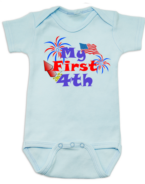 My First Fourth baby Bodysuit, My First 4th baby onsie, 4th of July, Independence day infant bodysuit, Patriotic baby, blue