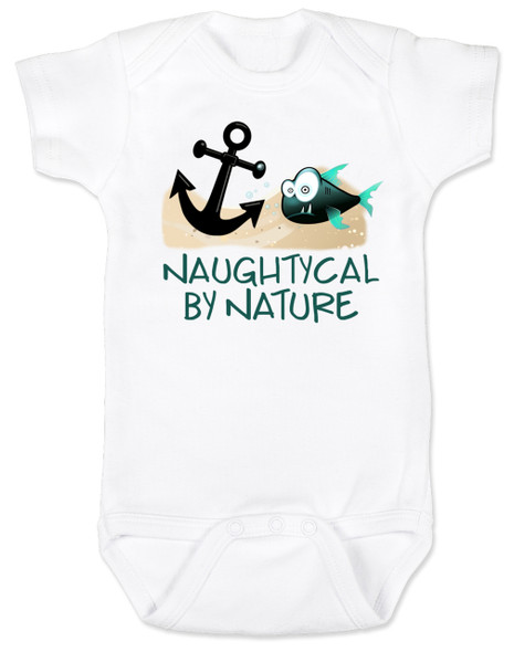 Naughtycal by nature baby Bodysuit, Naughty by nature baby, Ocean baby bodysuit, nature baby onsie, Nautical baby gift, funny fish baby Bodysuit