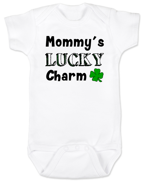Mommy's Lucky Charm Baby Bodysuit, St. Patricks Day onsie, four leaf clover, Irish baby, Good luck charm, St. Patty's day infant bodysuit