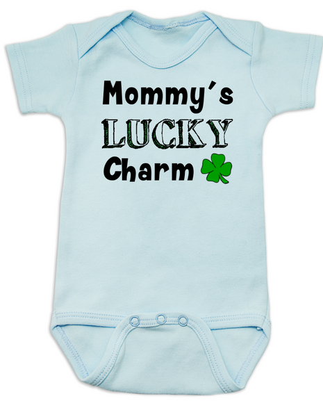 Mommy's Lucky Charm Baby Bodysuit, St. Patricks Day onsie, four leaf clover, Irish baby, Good luck charm, St. Patty's day infant bodysuit, blue