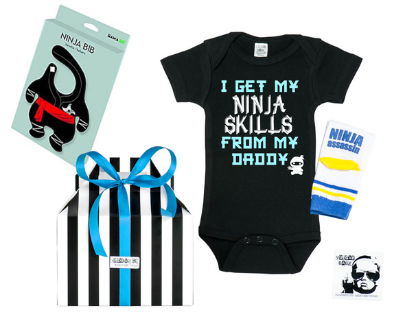 Little Ninja Gift Set, Ninja Skills baby and toddler gift set, Ninja Assassin socks, ninja bib, I get my ninja skills from my daddy, gift for little ninjas