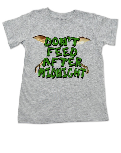 Don't feed after midnight, gremlins toddler shirt, gremlins movie kid shirt, 80's movie toddler gift, mogwai, gizmo, grey