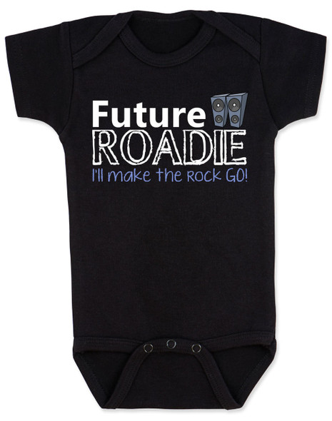 Future Roadie baby Bodysuit, Roadie baby, rock and roll baby gift, personalized rock baby shower gift, Roadie like dad, future rockstar, black