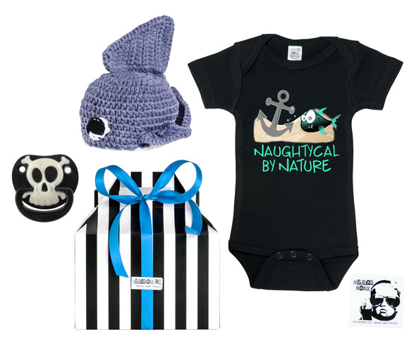 Naughtycal by nature gift box, nautical baby gift set, naughty by nature baby, Nautical baby shower, ocean baby gift, crochet shark hat, pirate binkie, pirate baby binky, skull baby pacifier, pirate pacifier, shark baby hat, ocean lover parents, pirate baby gift set