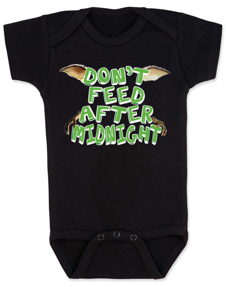 Don't feed after midnight, gremlins baby Bodysuit, gremlins movie baby bodysuit, 80's movie baby gift, mogwai, gizmo, black