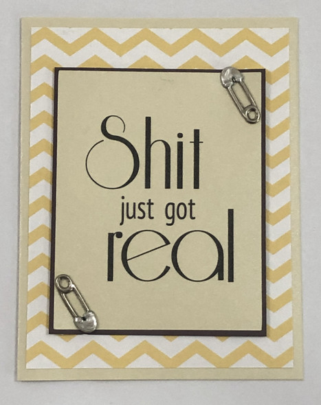 greeting card, handmade card, cool new parents, funny greeting card for baby, greeting card for baby gift, shit just got real, funny baby card, chevron, yellow