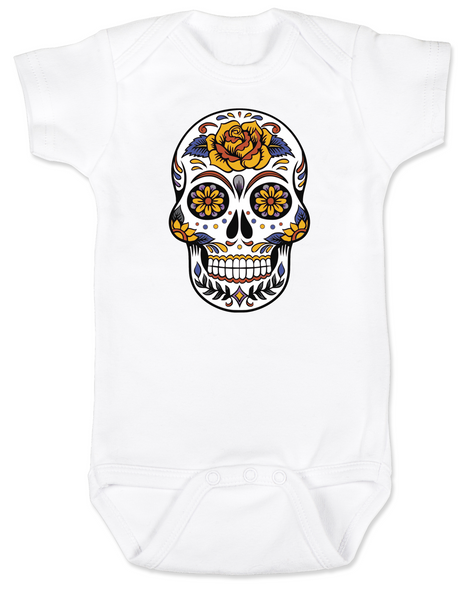 Dia de los Muertos baby Bodysuit, Yellow Rose skull, sugar skull Bodysuit, Day of the dead baby Bodysuit, Halloween baby Bodysuit, sugar skull halloween baby, white
