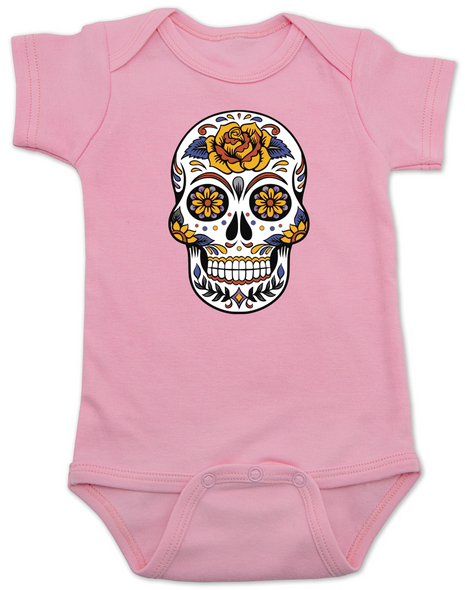Dia de los Muertos baby Bodysuit, Yellow Rose skull, sugar skull Bodysuit, Day of the dead baby Bodysuit, Halloween baby Bodysuit, sugar skull halloween baby, pink