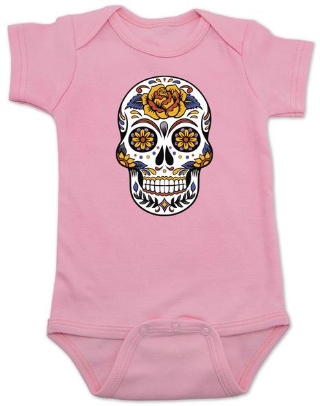 Dia de los Muertos baby Bodysuit, Yellow Rose skull, sugar skull Bodysuit, Day of the dead baby Bodysuit, Halloween baby Bodysuit, sugar skull halloween baby, pink