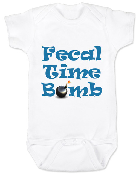 Fecal time bomb onesie, fecal time bomb bodysuit, john oliver mount everest baby onesie, white
