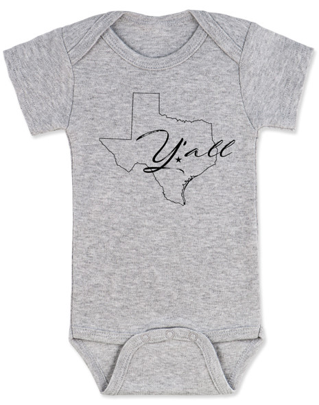texas yall onesie, yall baby bodysuit, texas outline baby clothing, grey