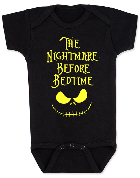 Nightmare before bedtime baby Bodysuit, funny christmas baby clothes, nightmare before christmas, jack the pumpkin king, black and gold